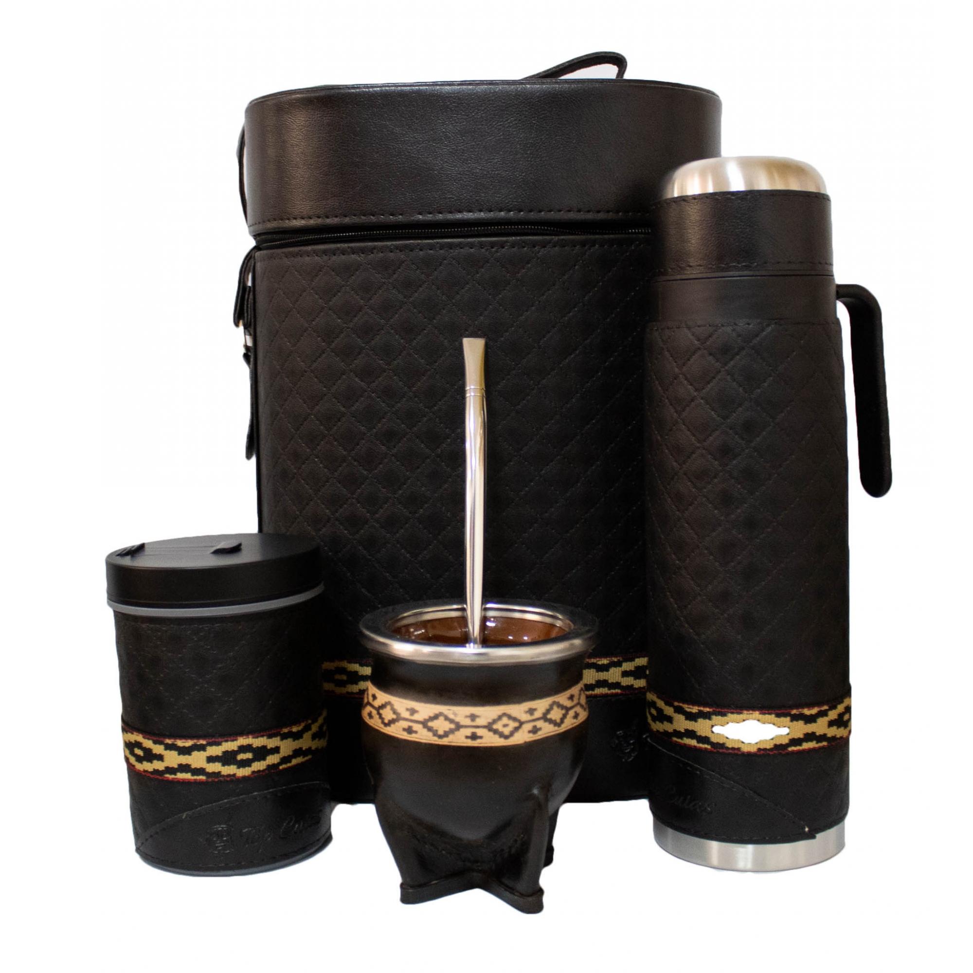 Conjunto chimarrão mateira 1 litro, térmica, cuia cerâmica, bomba inox e porta erva