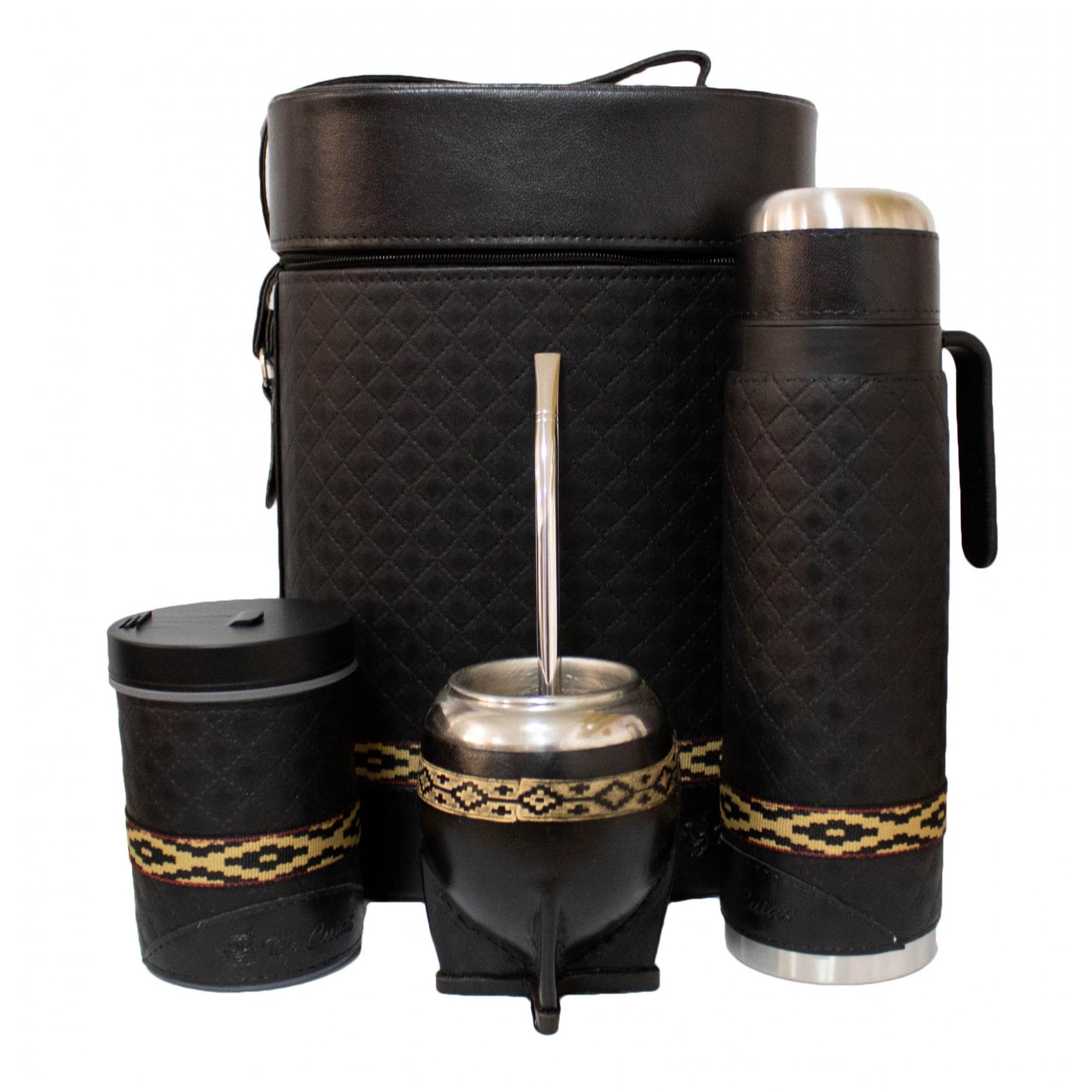 Conjunto chimarrão mateira 1 litro, térmica, cuia coquinho faixa pampa, bomba inox e porta erva