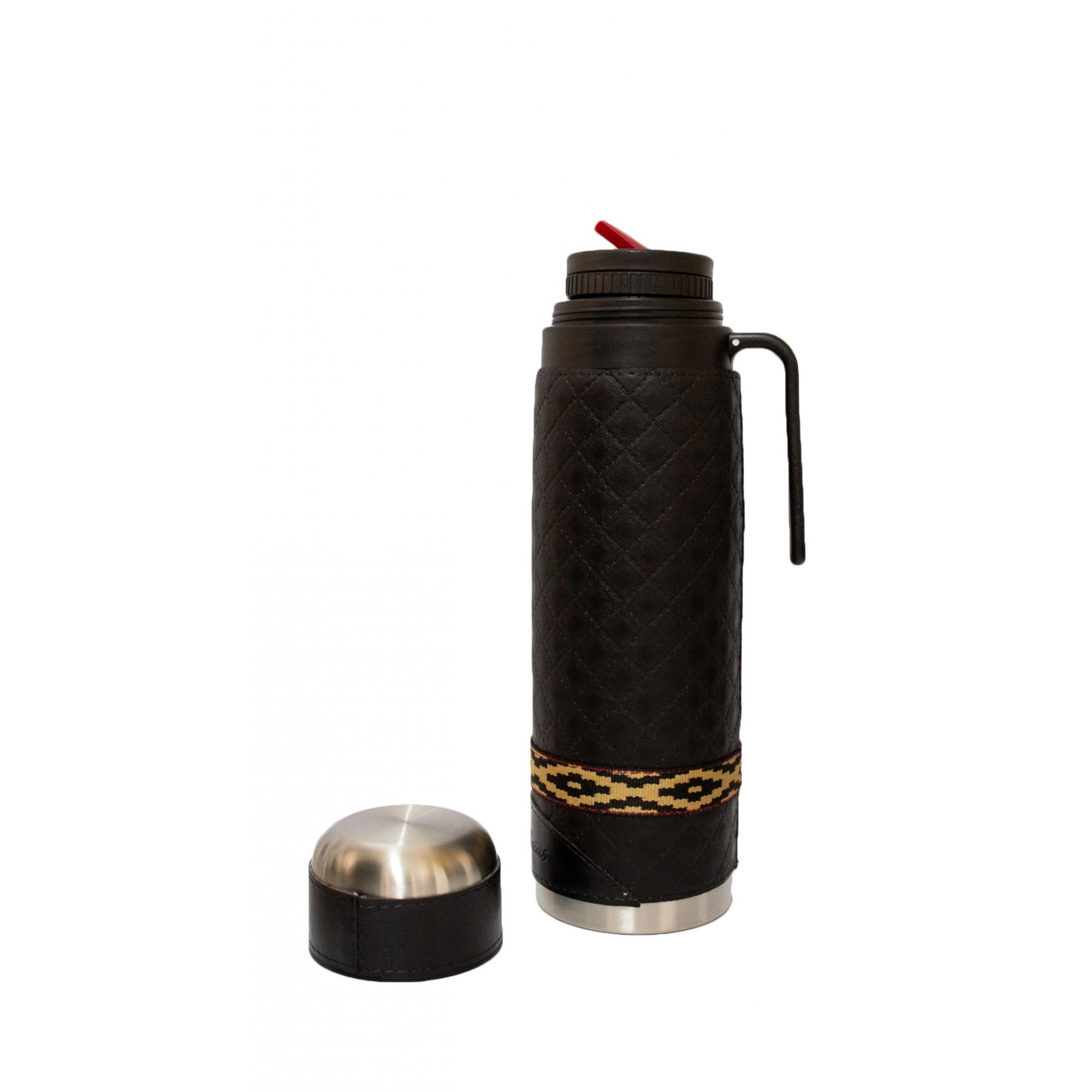 Conjunto chimarrão mateira 1 litro, térmica, cuia porongo lisa, bomba inox e porta erva