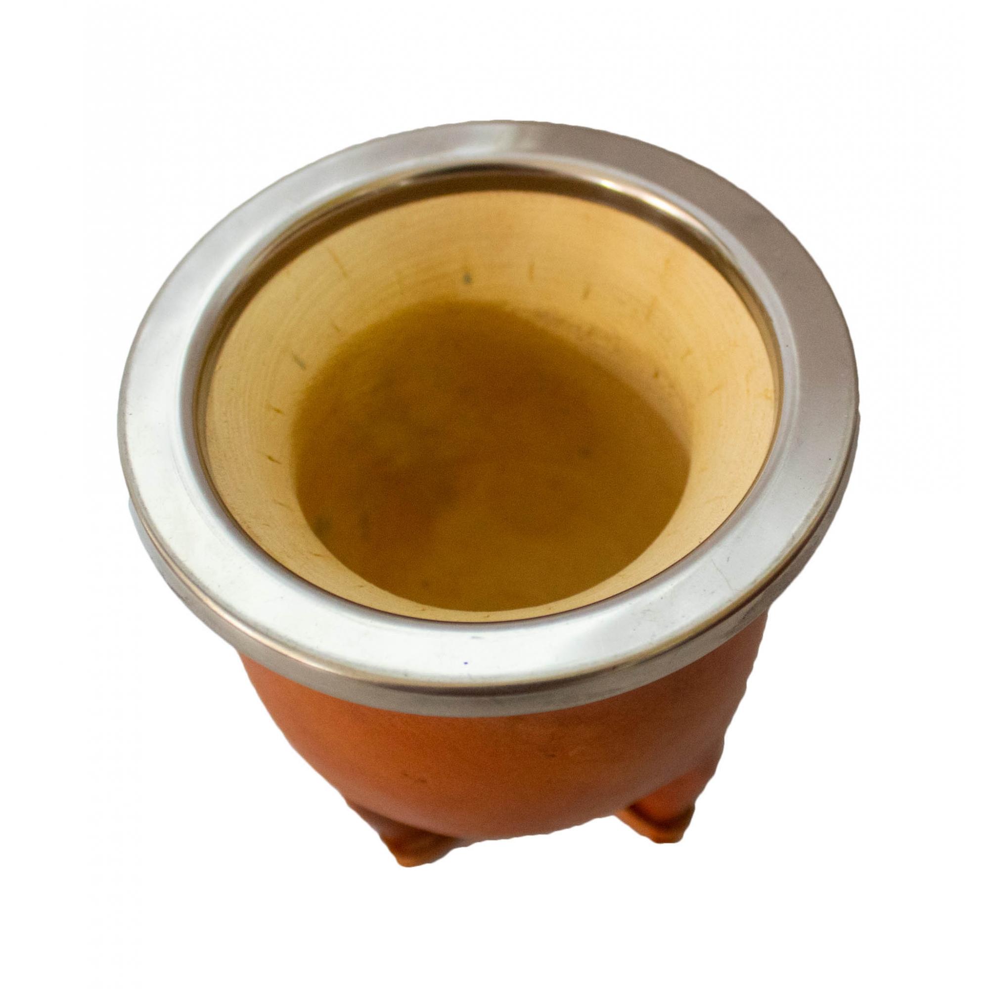 Conjunto chimarrão mateira trançada aberta 1 Litro, térmica, cuia porongo clara, bomba inox e porta erva