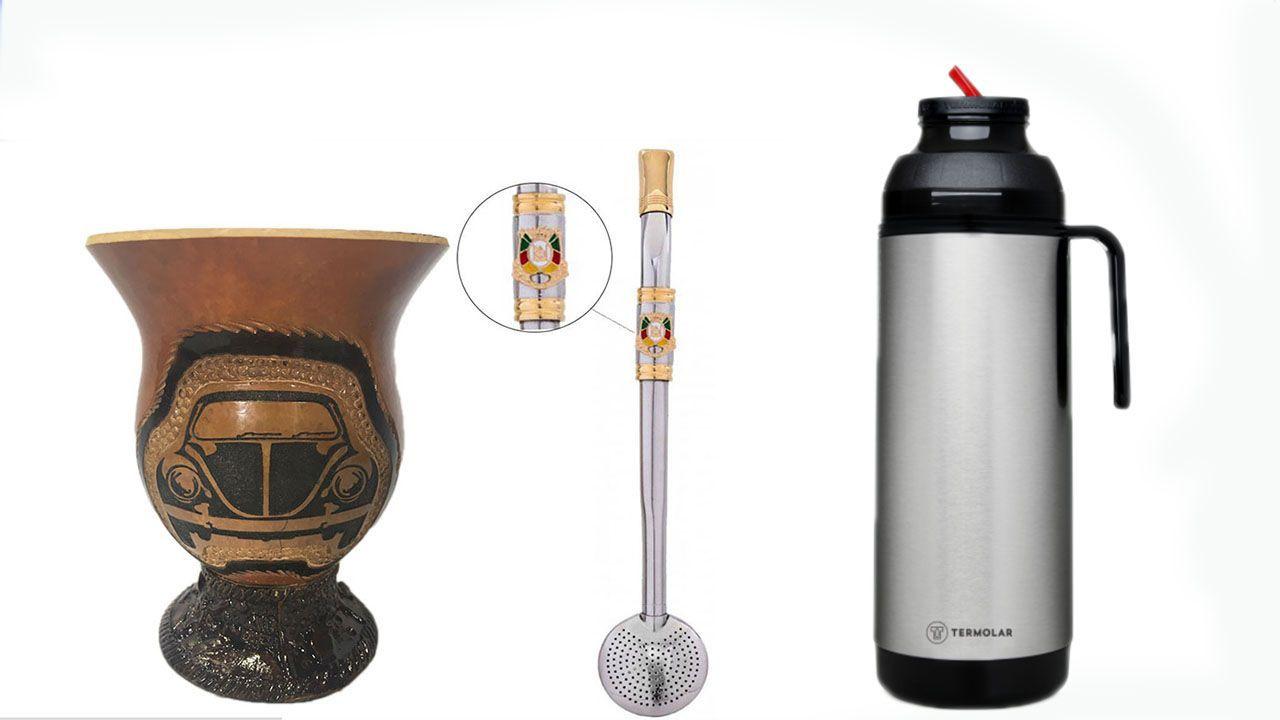 Conjunto Chimarrao  completo, Cuia Fusca , Bomba Inox  e Termica  1 litro Termolar