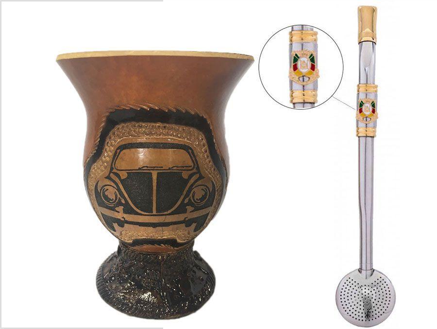 Conjunto Cuia Fusca e Bomba aço inox ouro