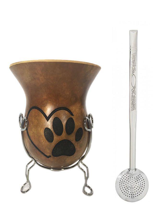 Conjunto Cuia Pata de cachorro e Bomba Aço Inox