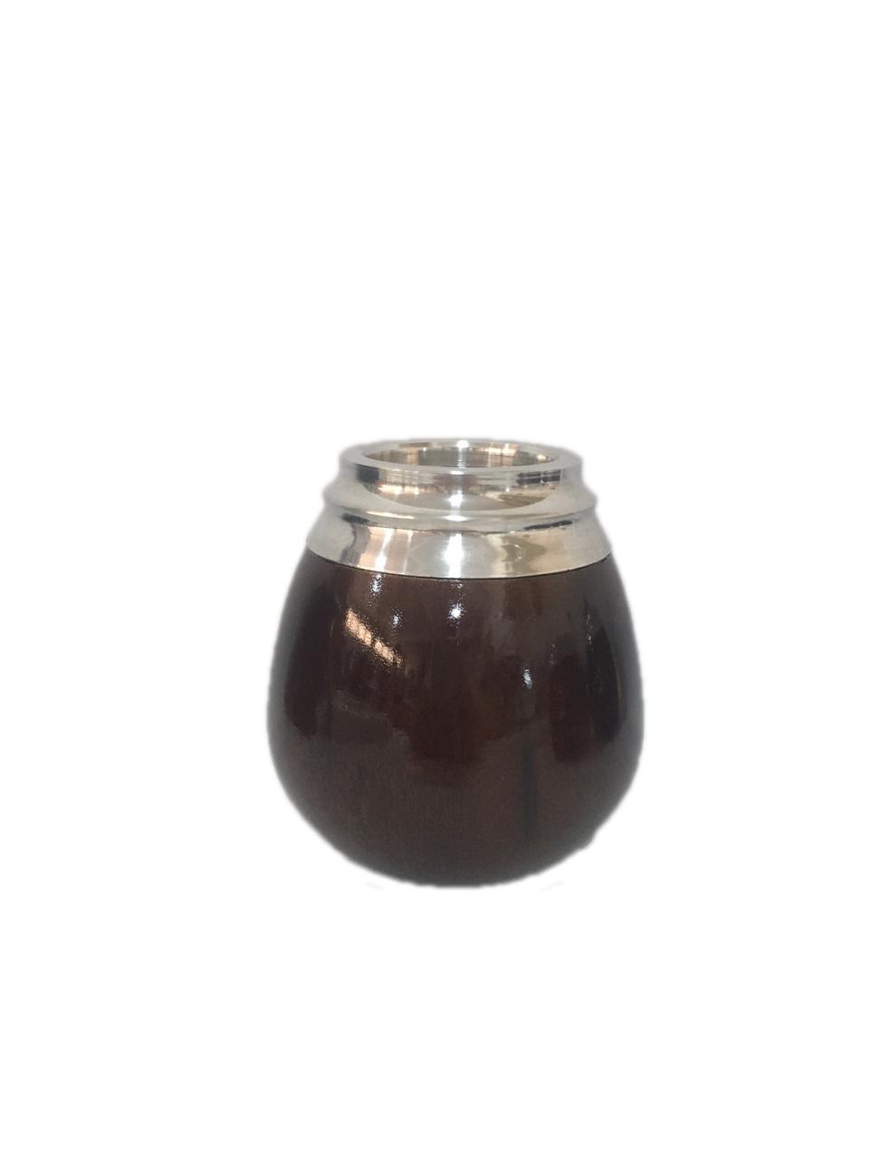 Cuia Argentina Madeira Vinho bocal Alumínio