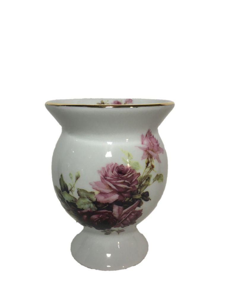Cuia cerâmica flores rosa
