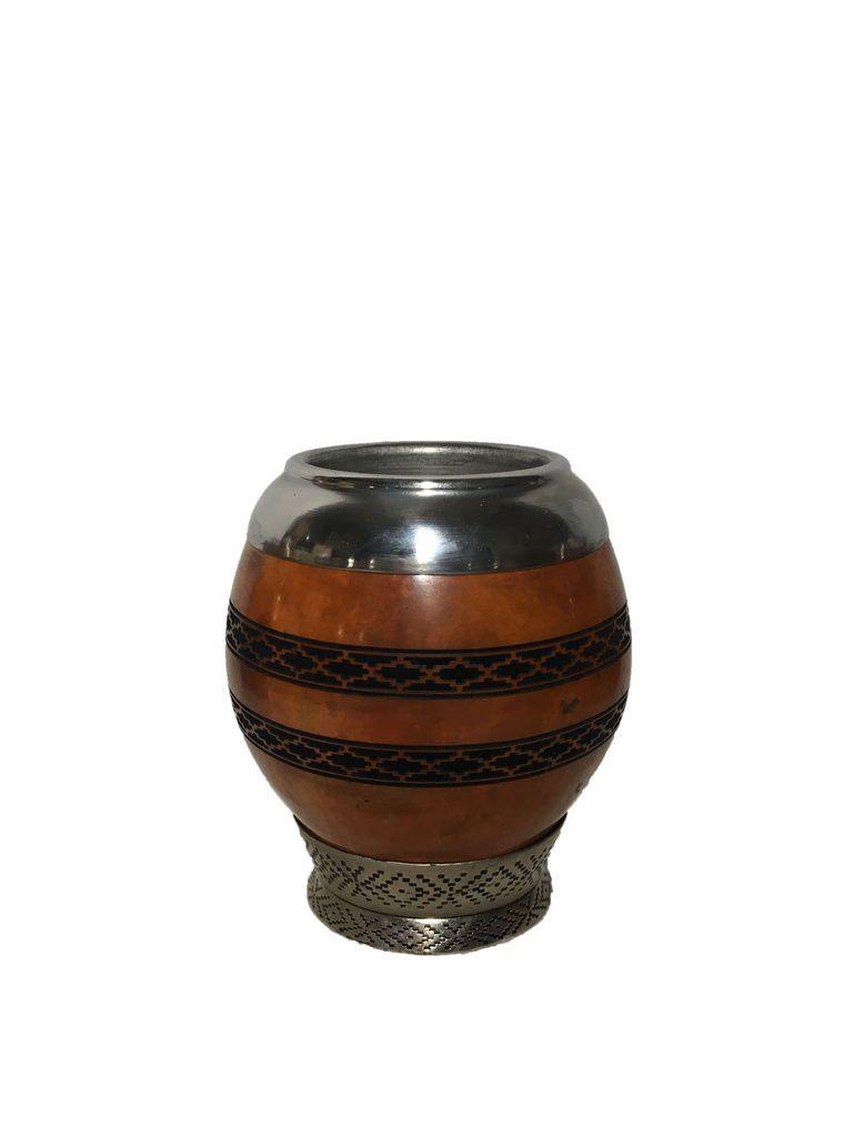 Cuia coquinho bocal Inox Faixa Pampa