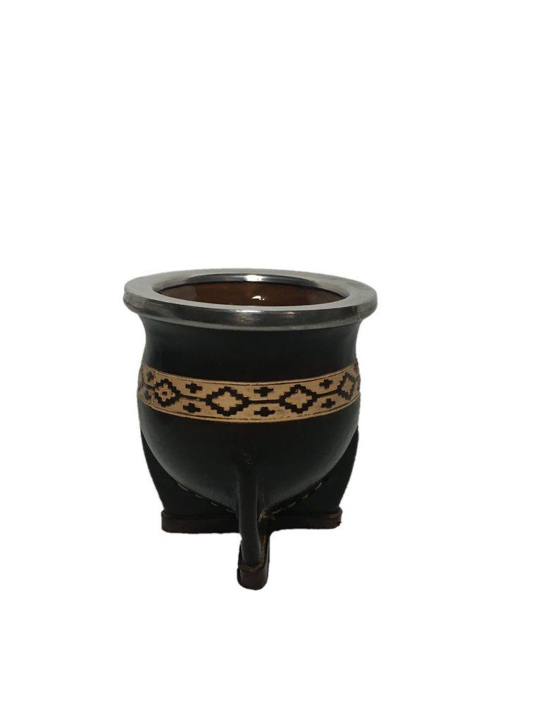 Cuia de cerâmica revestida em couro Pampa