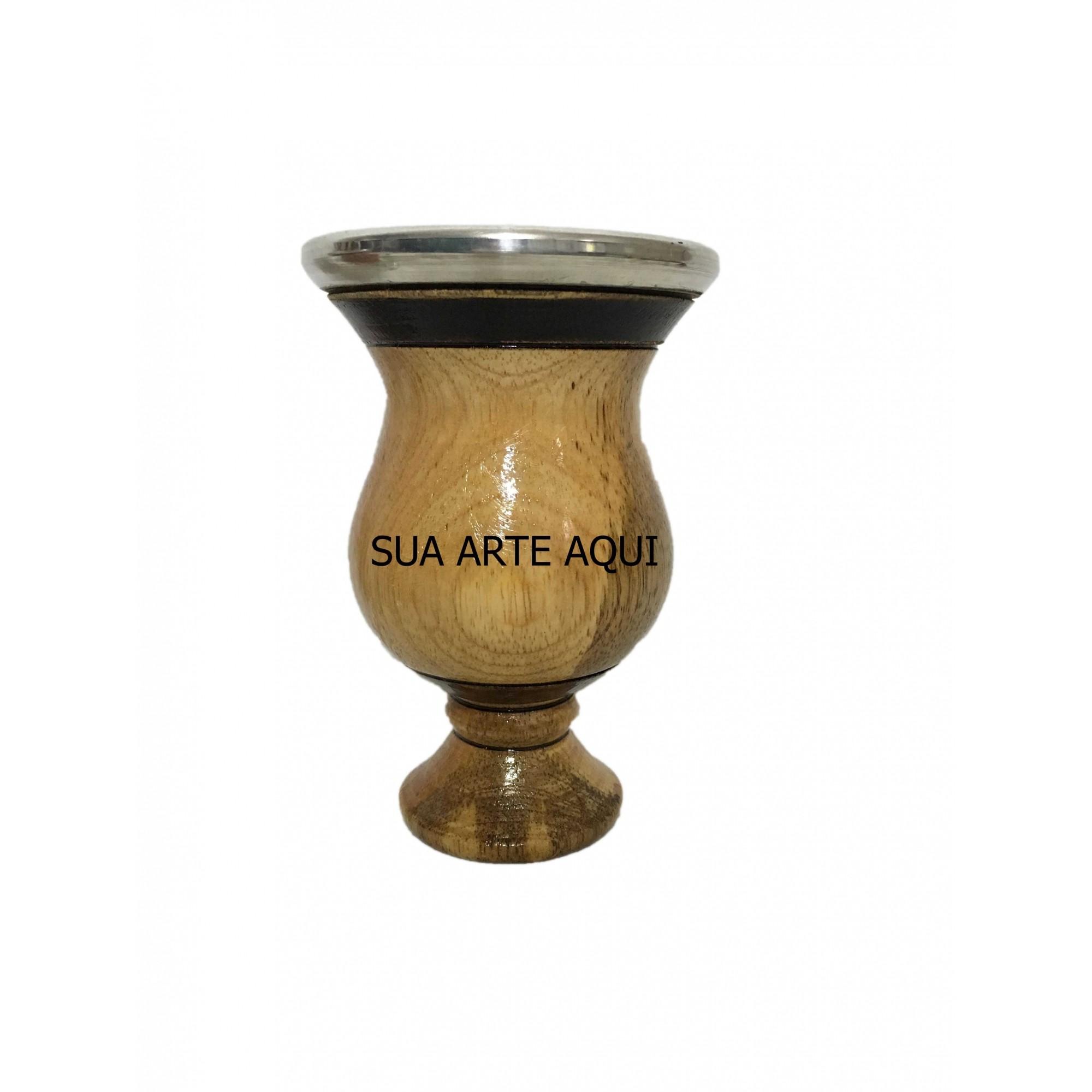 Cuia de madeira imbuia bocal alumínio personalizada
