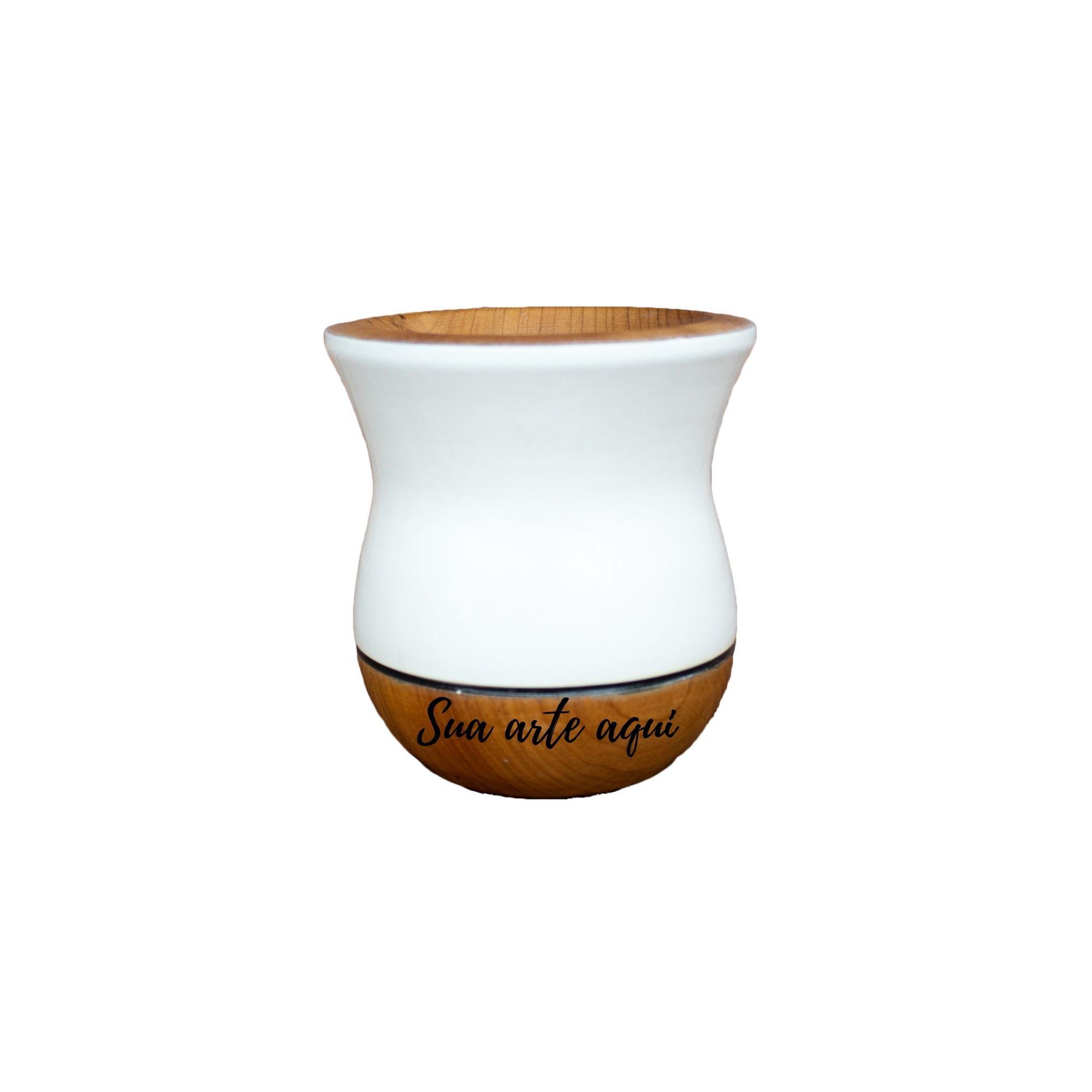 Cuia Madeira bicolor imbuia branca personalizada