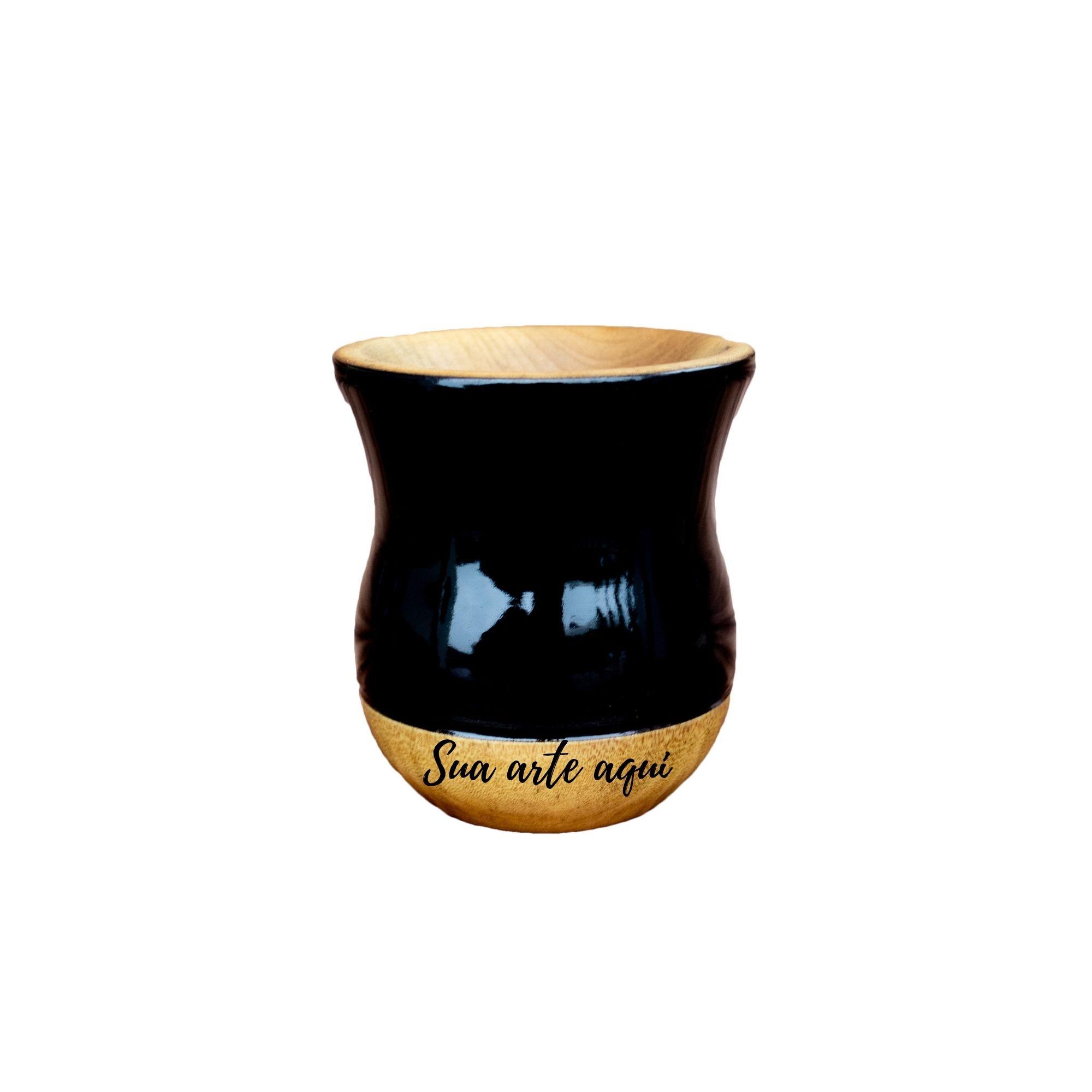 Cuia Madeira bicolor imbuia preta personalizada