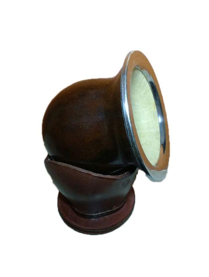 Cuia natural estilo uruguaia Tradicional , toda em porongo com borda em aço inox