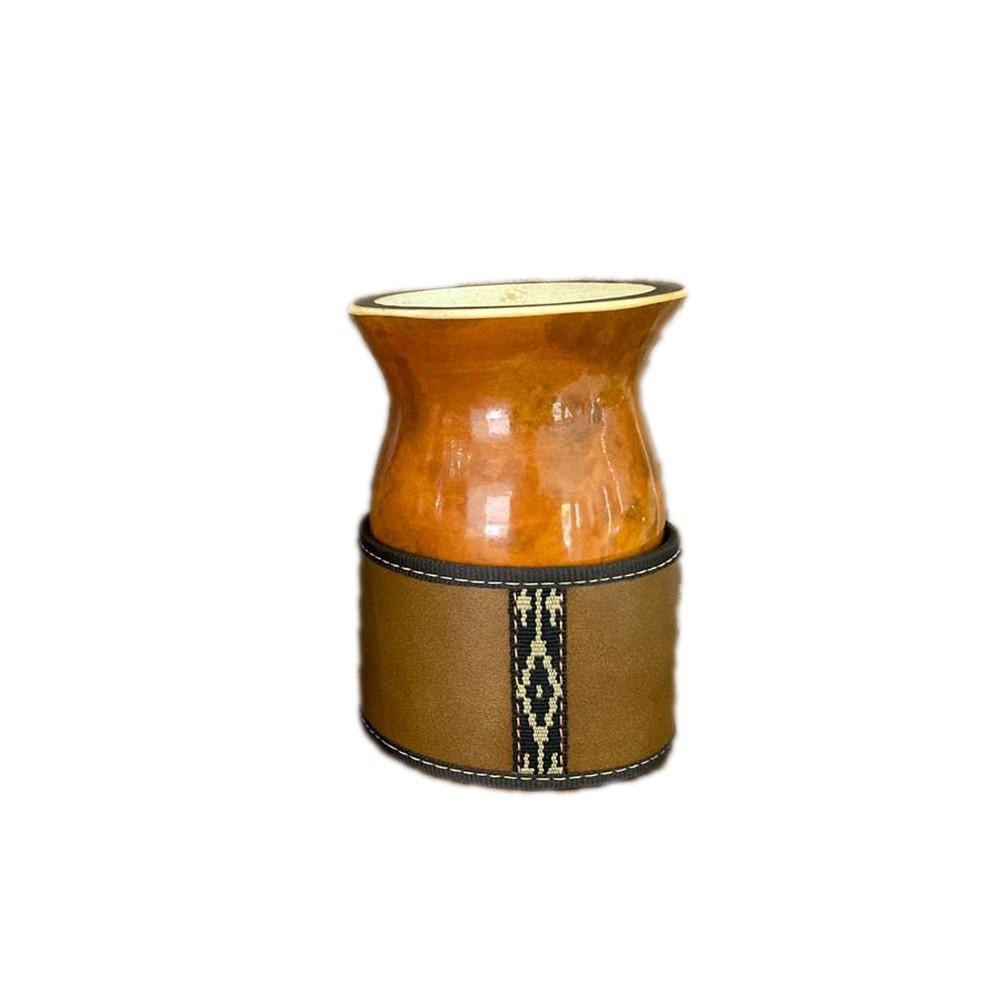 Cuia Porongo Bago de touro com Porta Cuia couro Premium