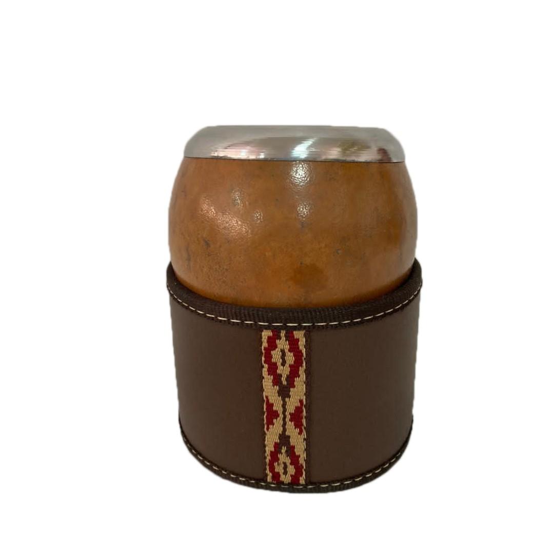 Cuia Porongo Coquinho com Porta Cuia couro Premium