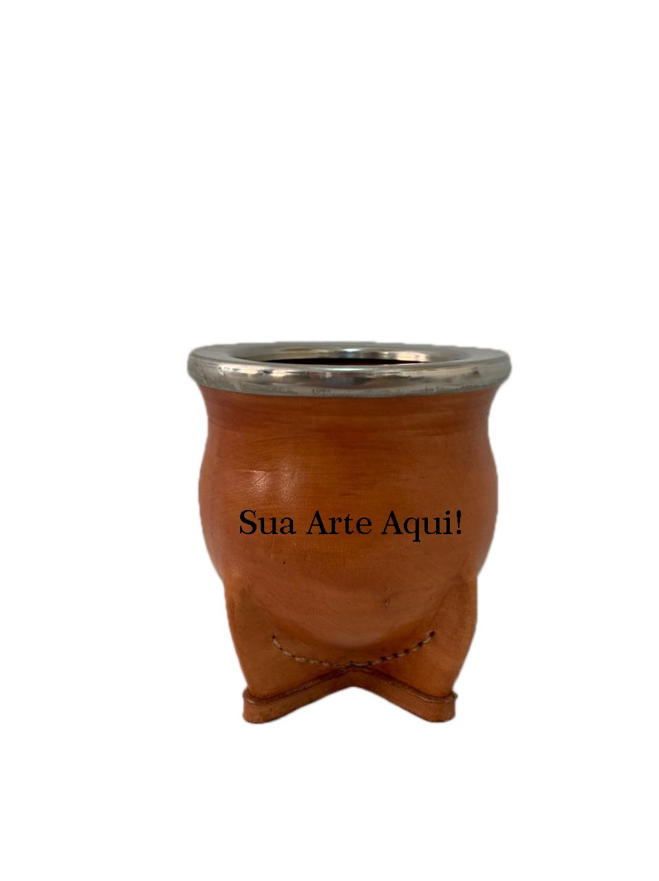 Cuia Revestida de couro Cerâmica Personalizada - Clara