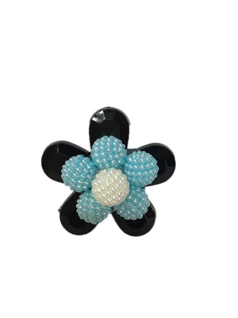 Enfeite chimarrão flor Preta/Azul/branca
