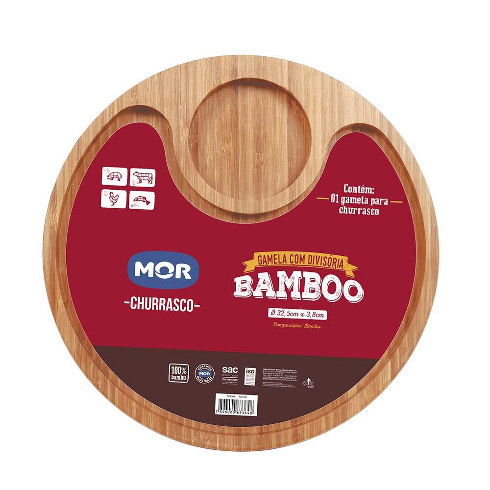 Gamela Personalizada Churrasco Bamboo com duas divisórias
