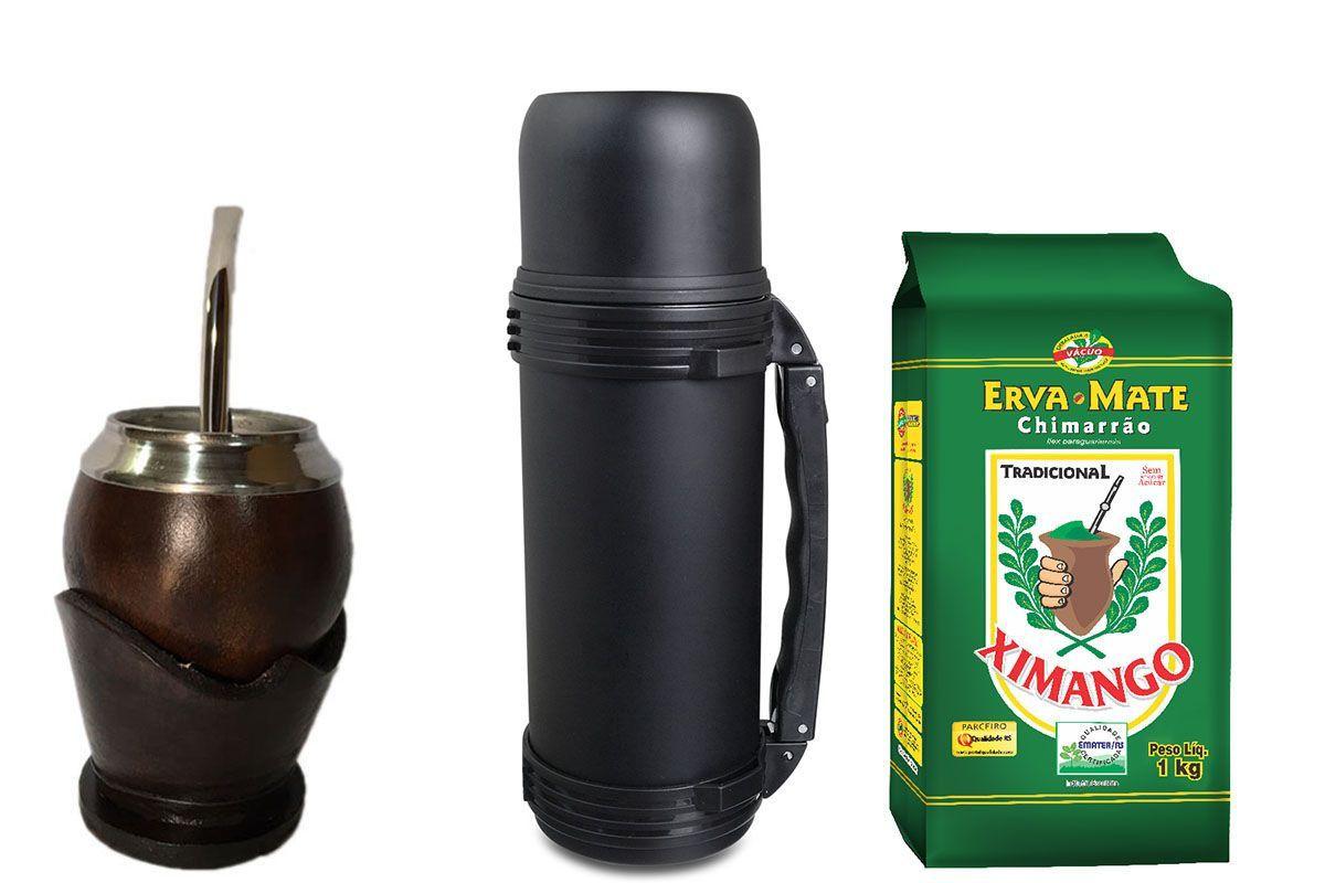 Kit chimarrão completo cuia coquinho termica mokha preta
