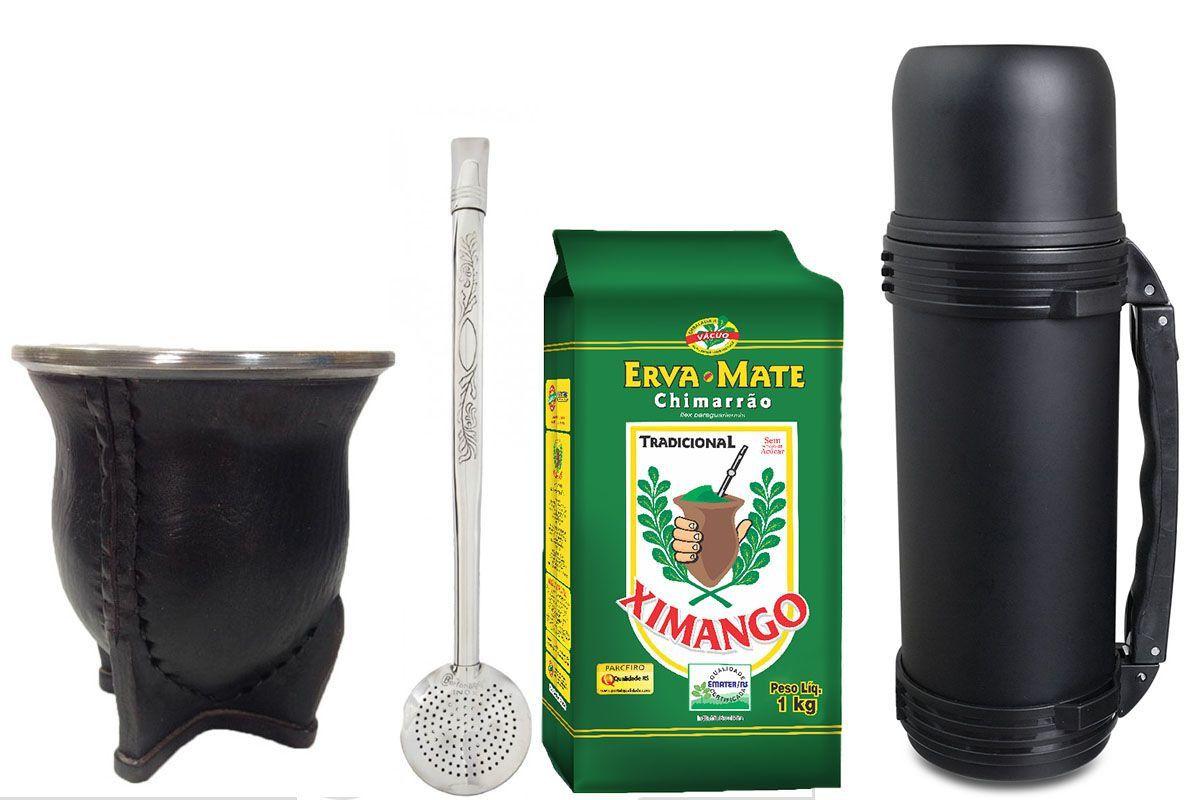 Kit chimarrão couro com garrafa Mokha preta