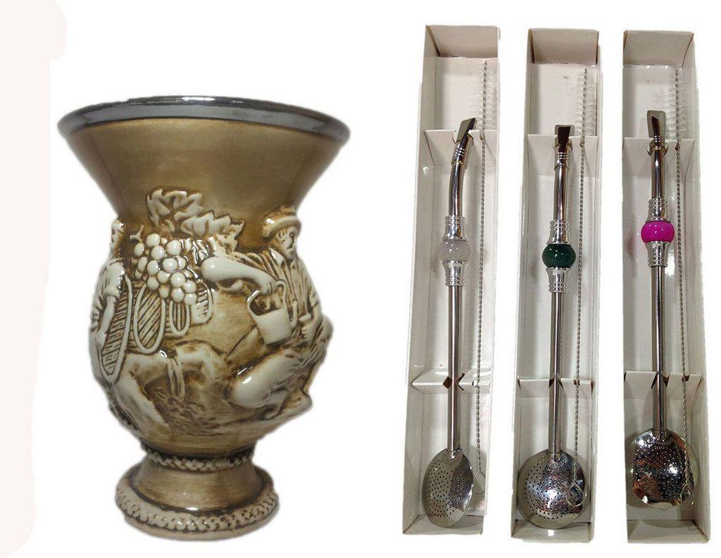 Kit chimarrão cuia cerâmica e bomba Inox Pedra