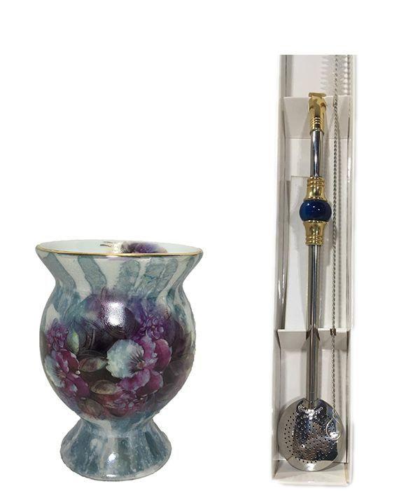 Kit chimarrão cuia cerâmica flores e bomba inox pedra
