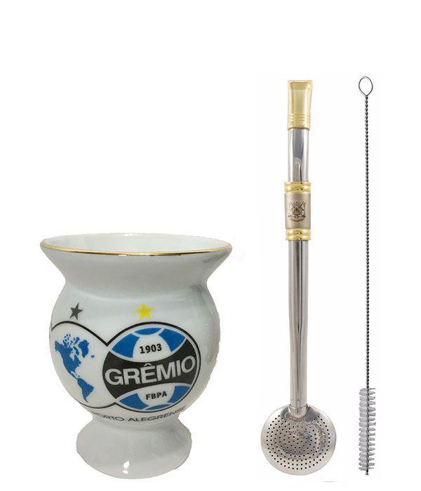 Kit chimarrão cuia cerâmica Grêmio bomba inox ouro