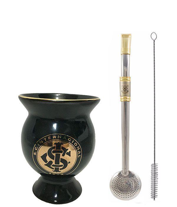 Kit chimarrão cuia cerâmica Internacional dourada bomba inox ouro