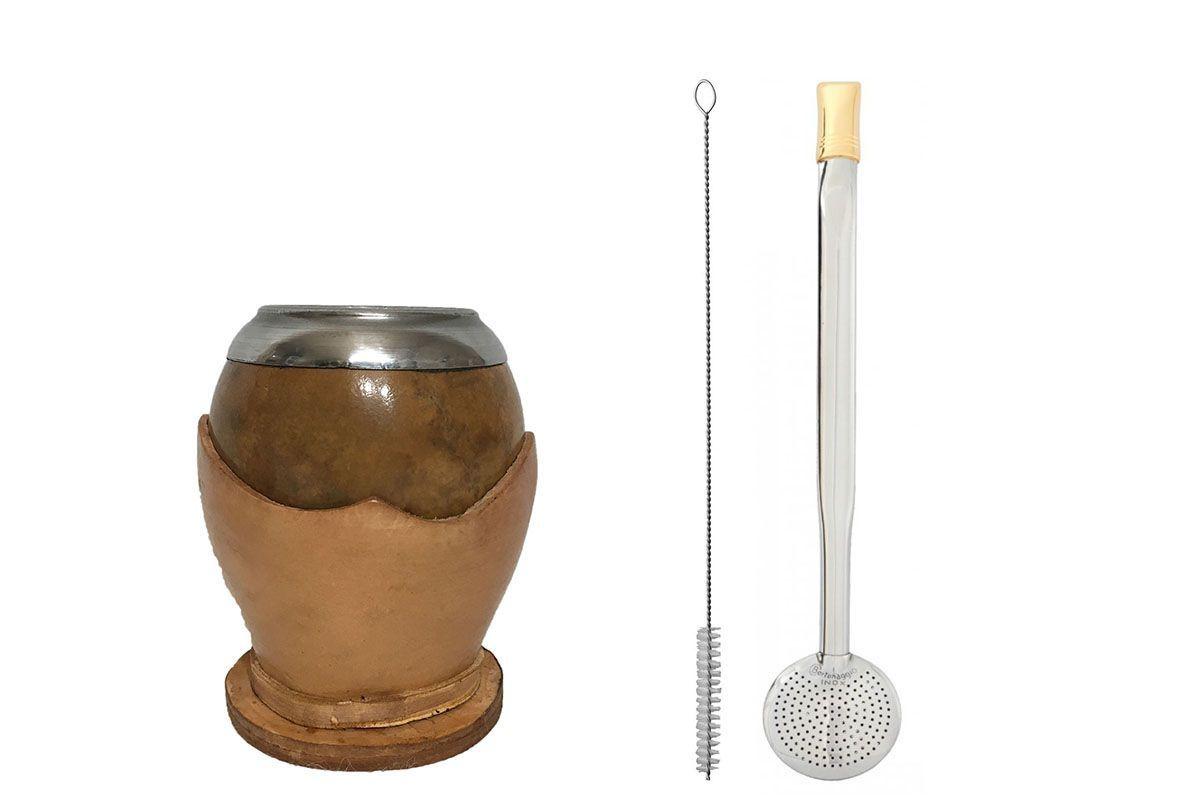 Kit chimarrão cuia coquinho clara e bomba aço inox biqueira banhada ouro 18