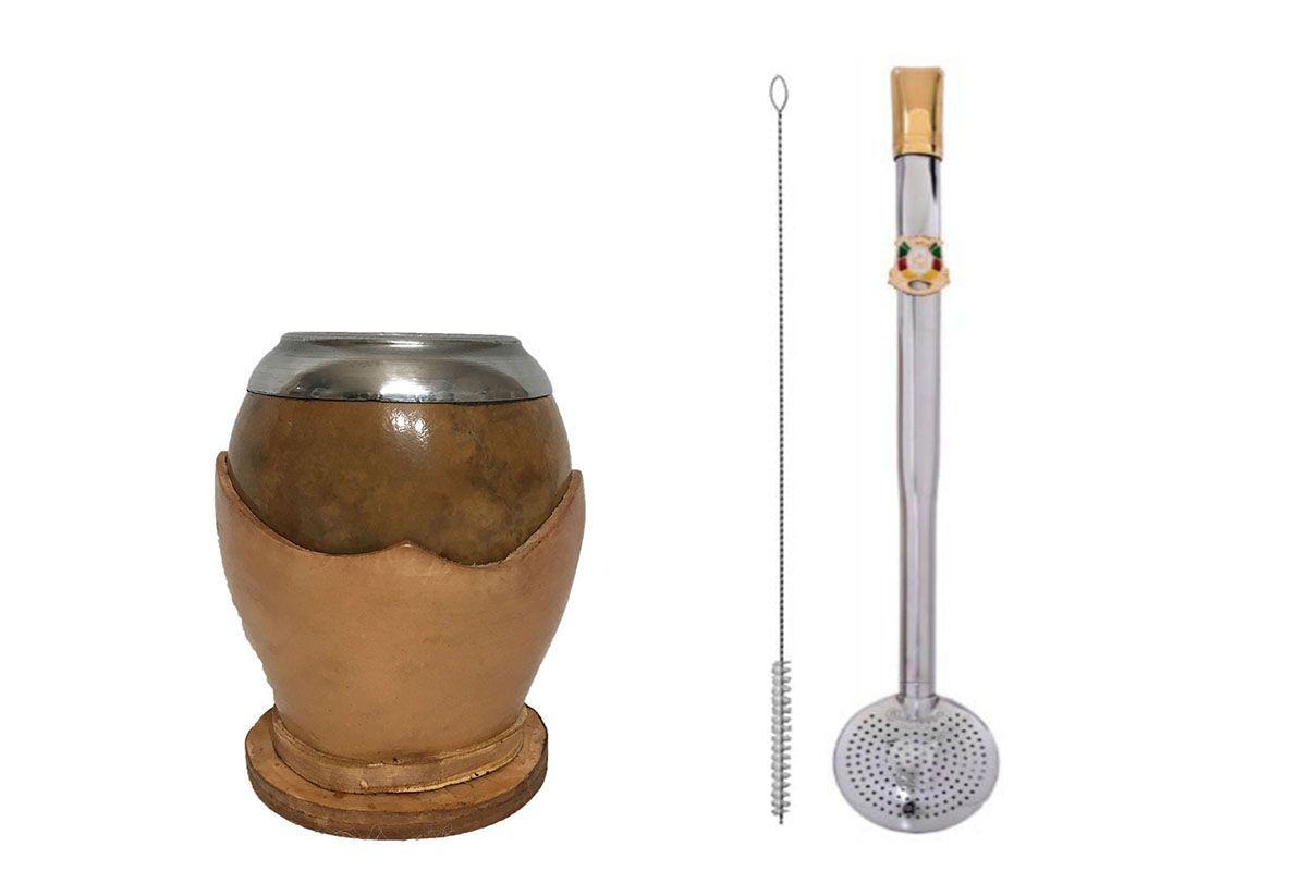Kit chimarrão cuia coquinho clara e bomba aço inox brasão RS banhada ouro 18