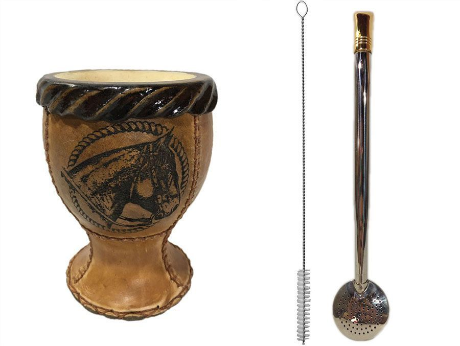Kit chimarrão cuia coquinho courino e bomba aço inox ouro
