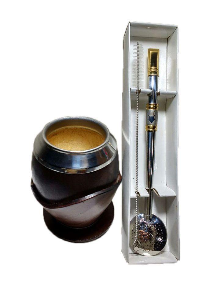 Kit chimarrão cuia coquinho e bomba aço inox ouro cuia