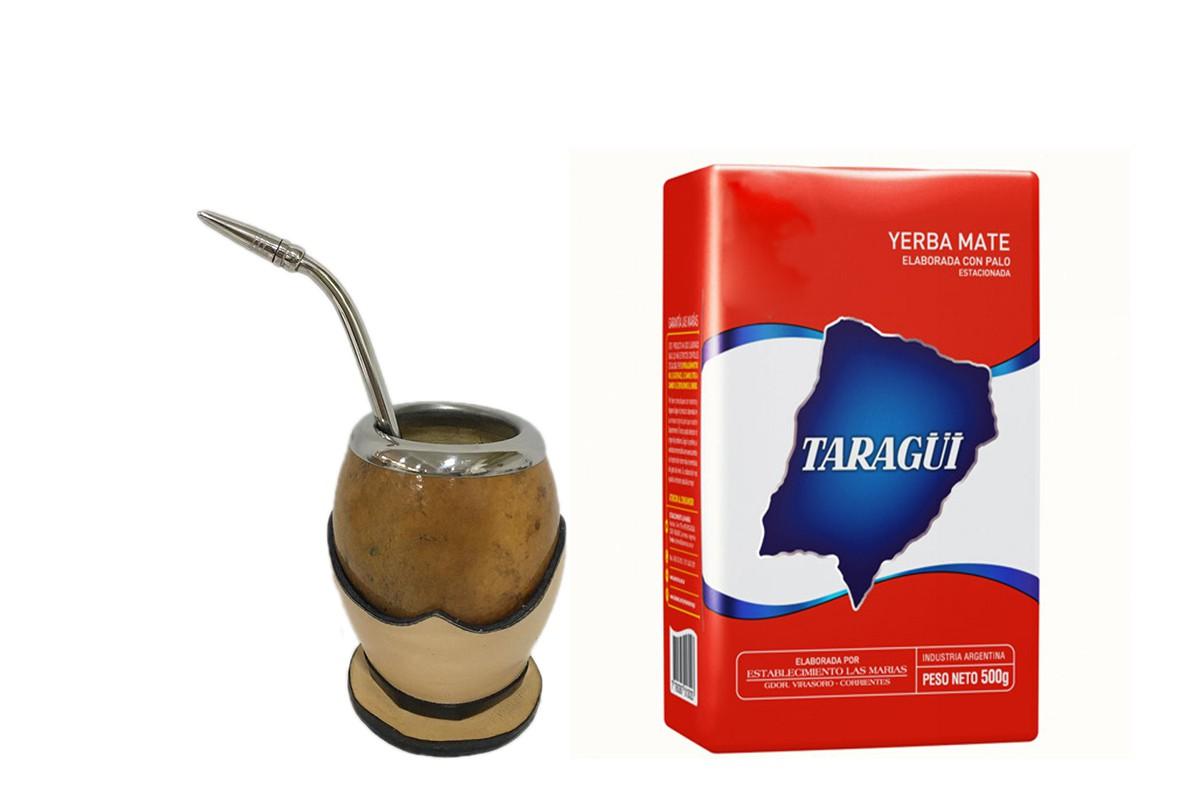 Kit Chimarrão  Cuia coquinho Rústica e Bomba inox Pera com Yerba Taragui 500 g