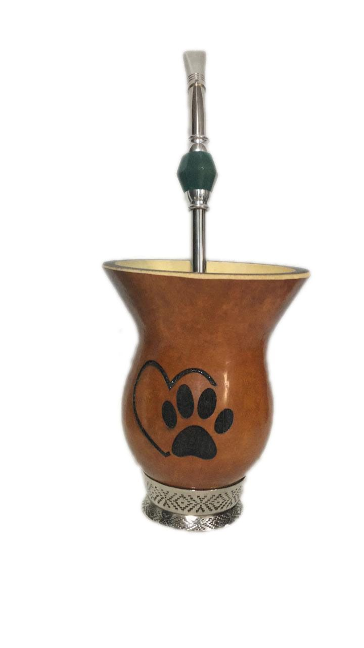 Kit chimarrão cuia pata de cachorro e bomba aço inox pedra verde