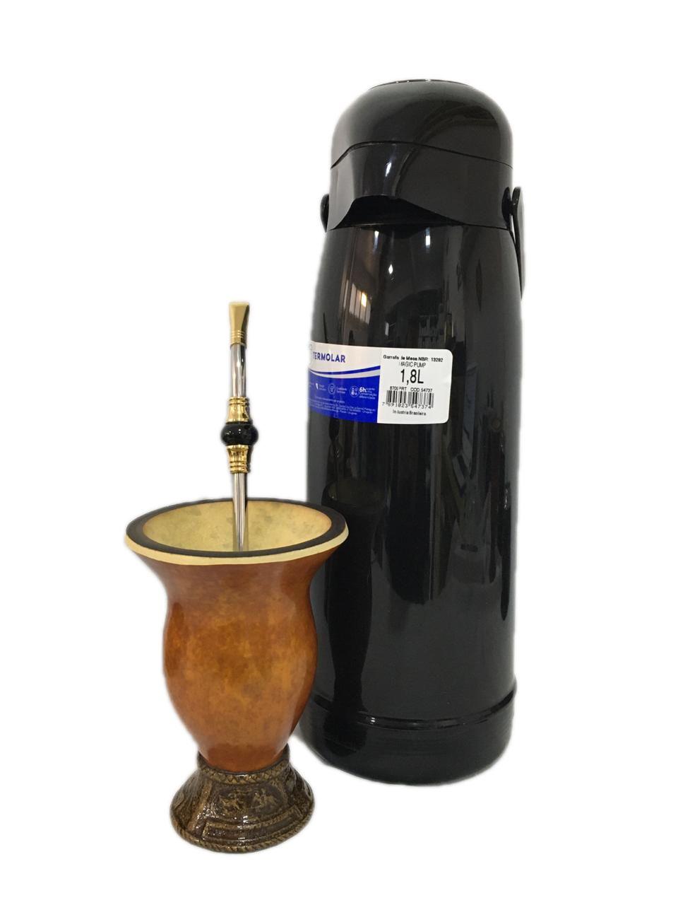Kit chimarrão Cuia porongo bomba inox pedra e Garrafa Térmica termolar 1,8 L