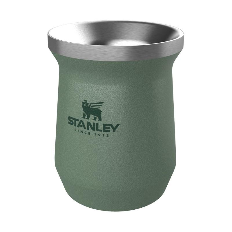 Kit Chimarrão Cuia Térmica Stanley Para Tereré e Chimarrão Verde 236 ml e Bomba Pêra Inox curvada