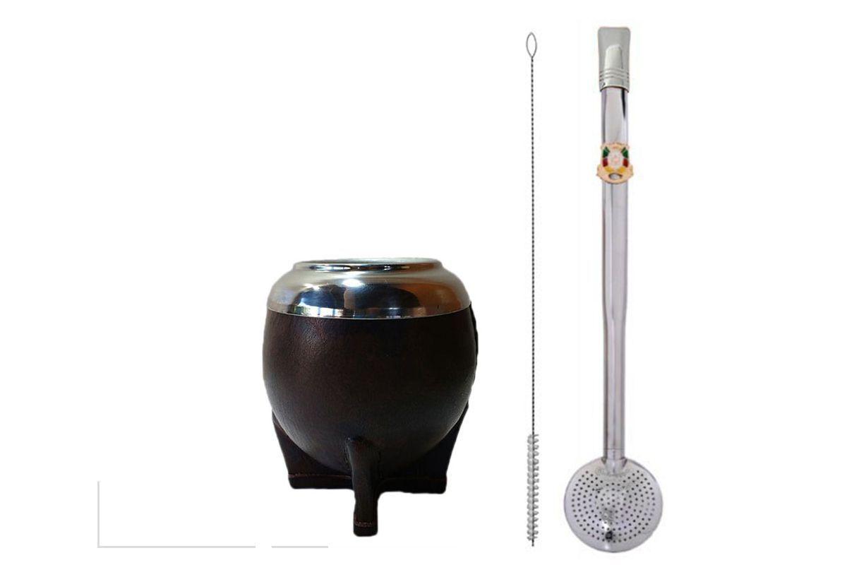 Kit chimarrão cuia torpedo couro e bomba inox rosca brasão