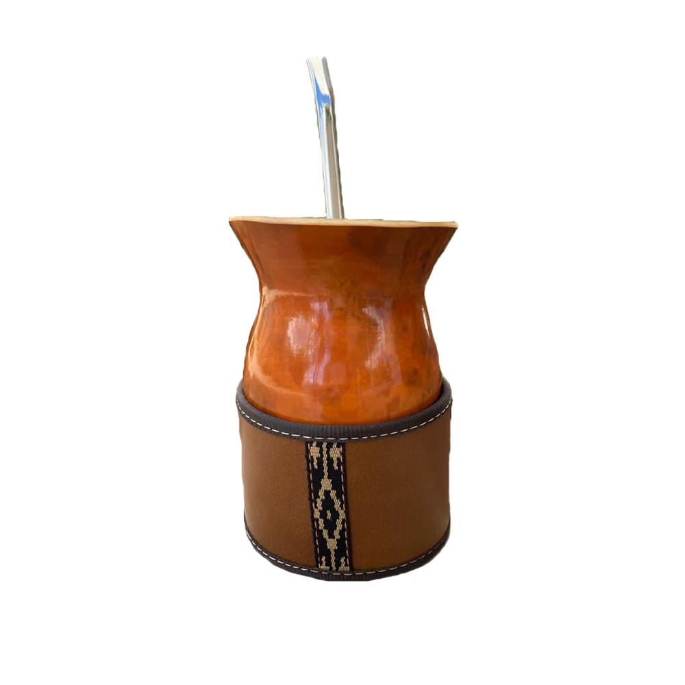 Kit chimarrão Personalizado Cuia Bago de touro Porta Cuia couro Premium e Bomba Inox