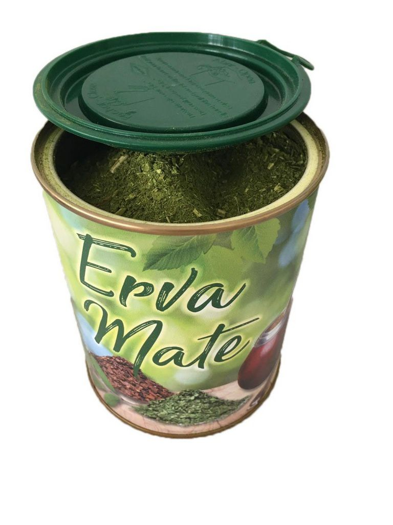 Kit chimarrão uruguaio cuia cerâmica e porta erva lata