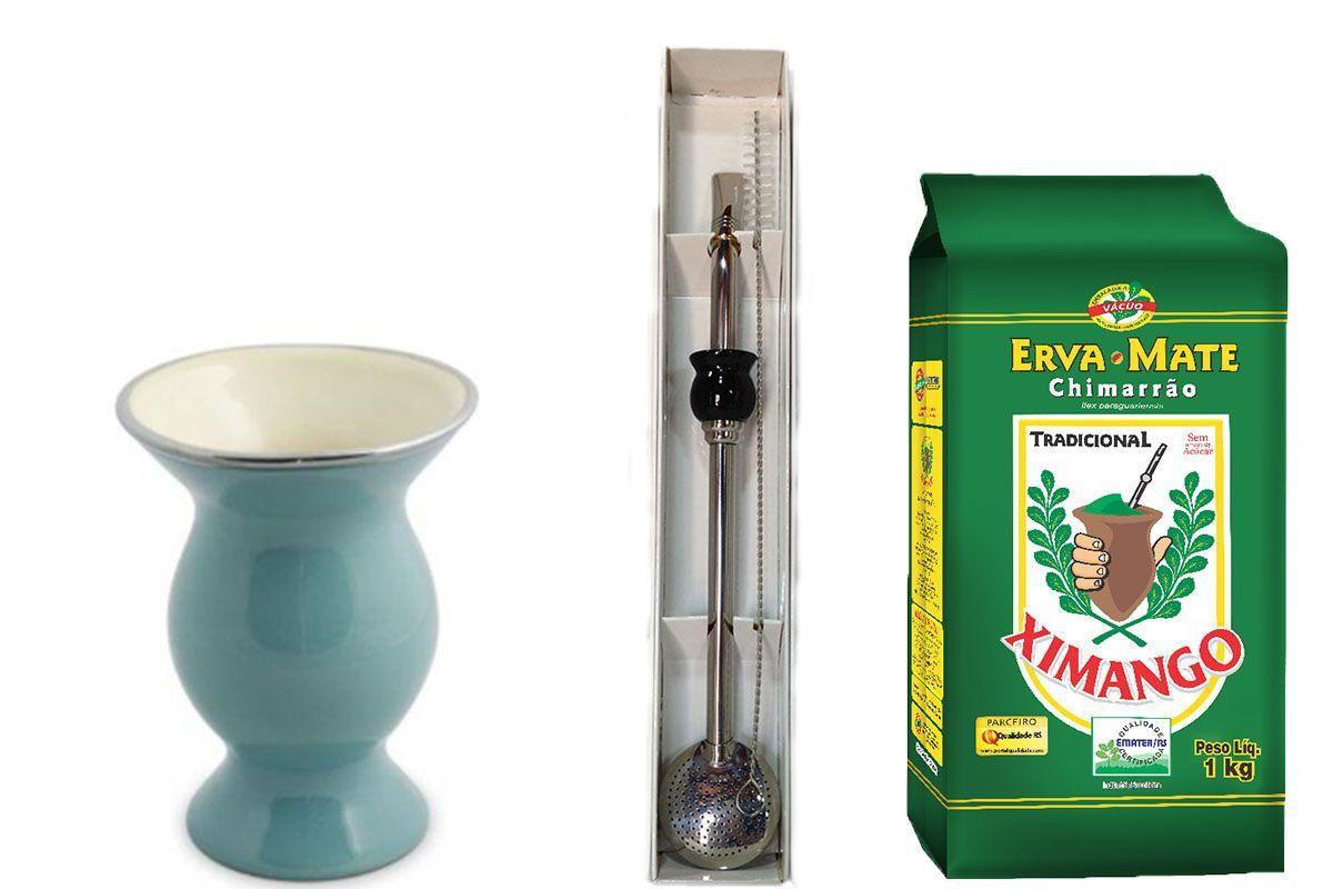 Kit Cuia cerâmica azul turquesa e bomba Inox e Erva mate