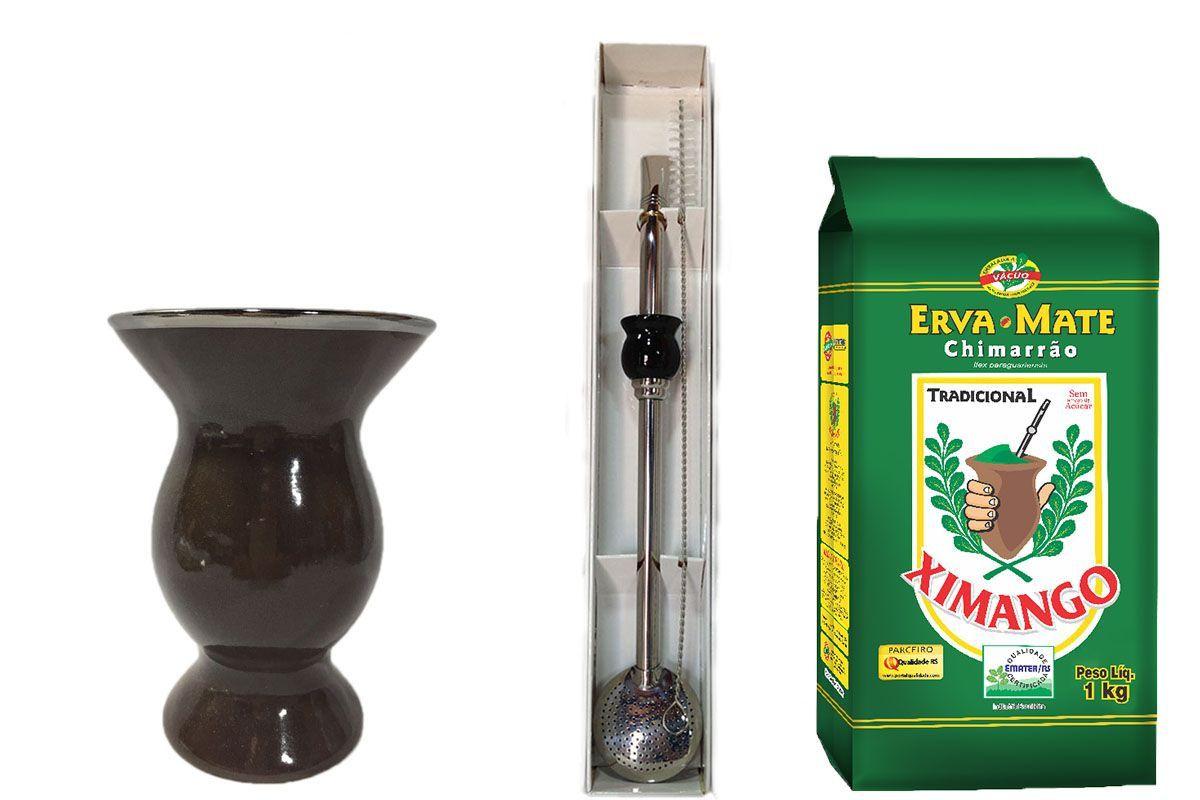 Kit Cuia cerâmica e bomba Inox e Erva mate