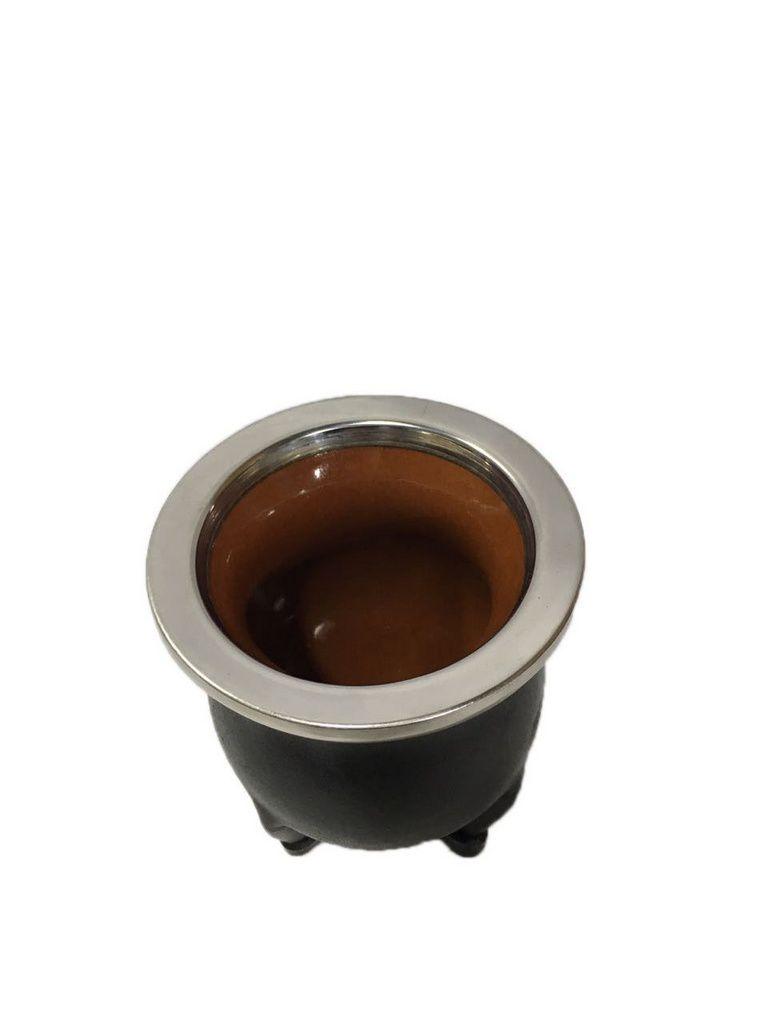 Kit Cuia torpedo couro cerâmica e Bomba Brasão inox ouro