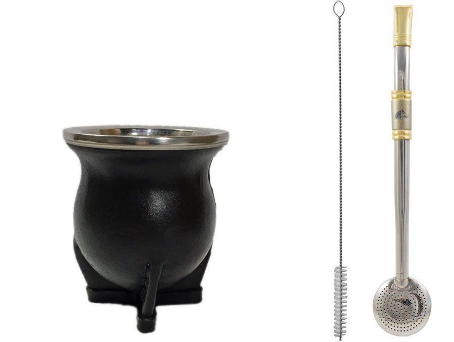 Kit Chimarrão Cuia torpedo couro cerâmica e Bomba inox ouro