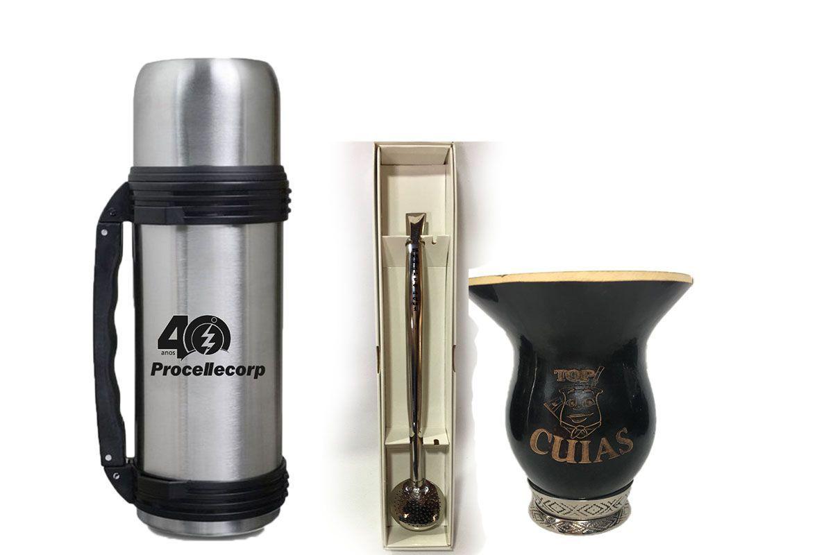 Kit de Chimarrão personalizado Cuia lisa preta bomba e garrafa térmica