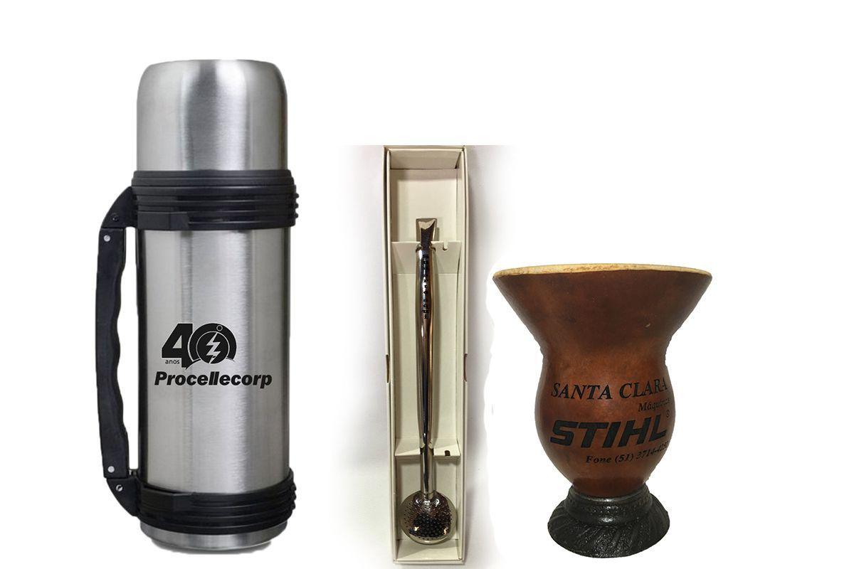 Kit de Chimarrão personalizado Cuia lisa tradicional bomba e garrafa térmica
