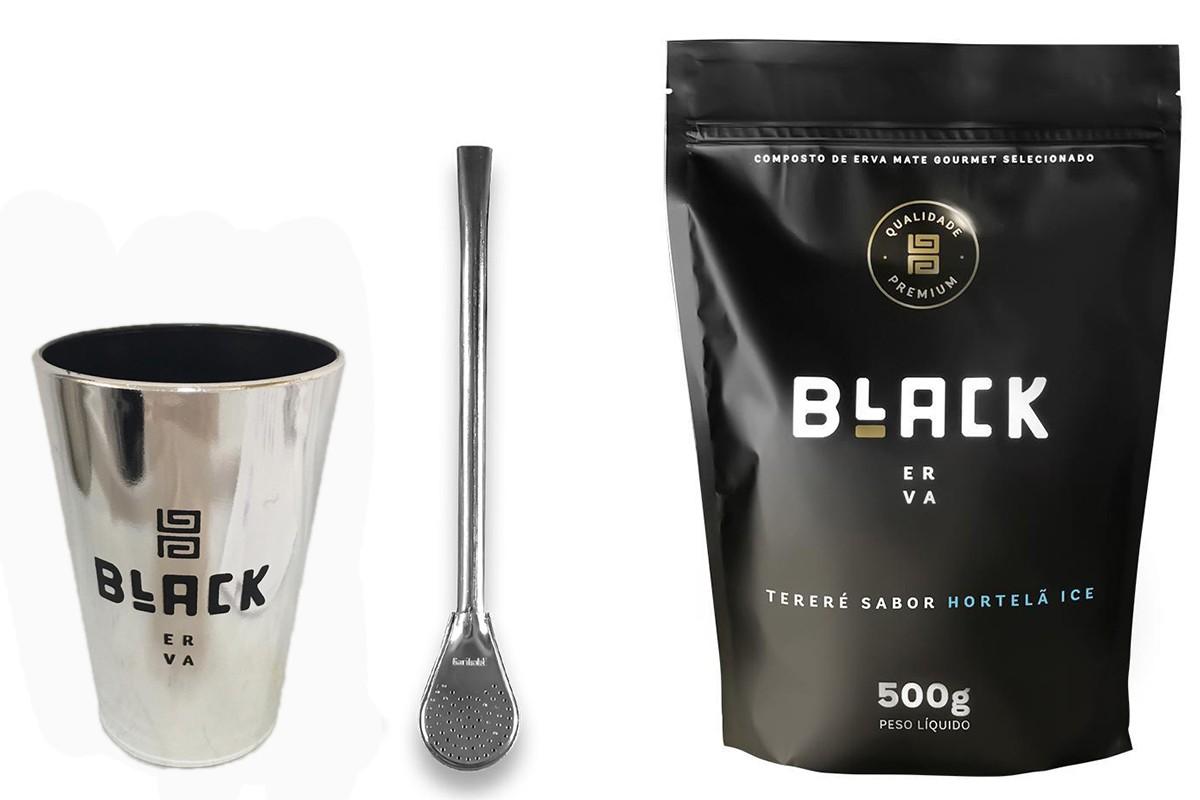 Kit Tereré Black Erva Copo Prata Tereré  Bomba Cor Prata e Hortelã Ice 500 g