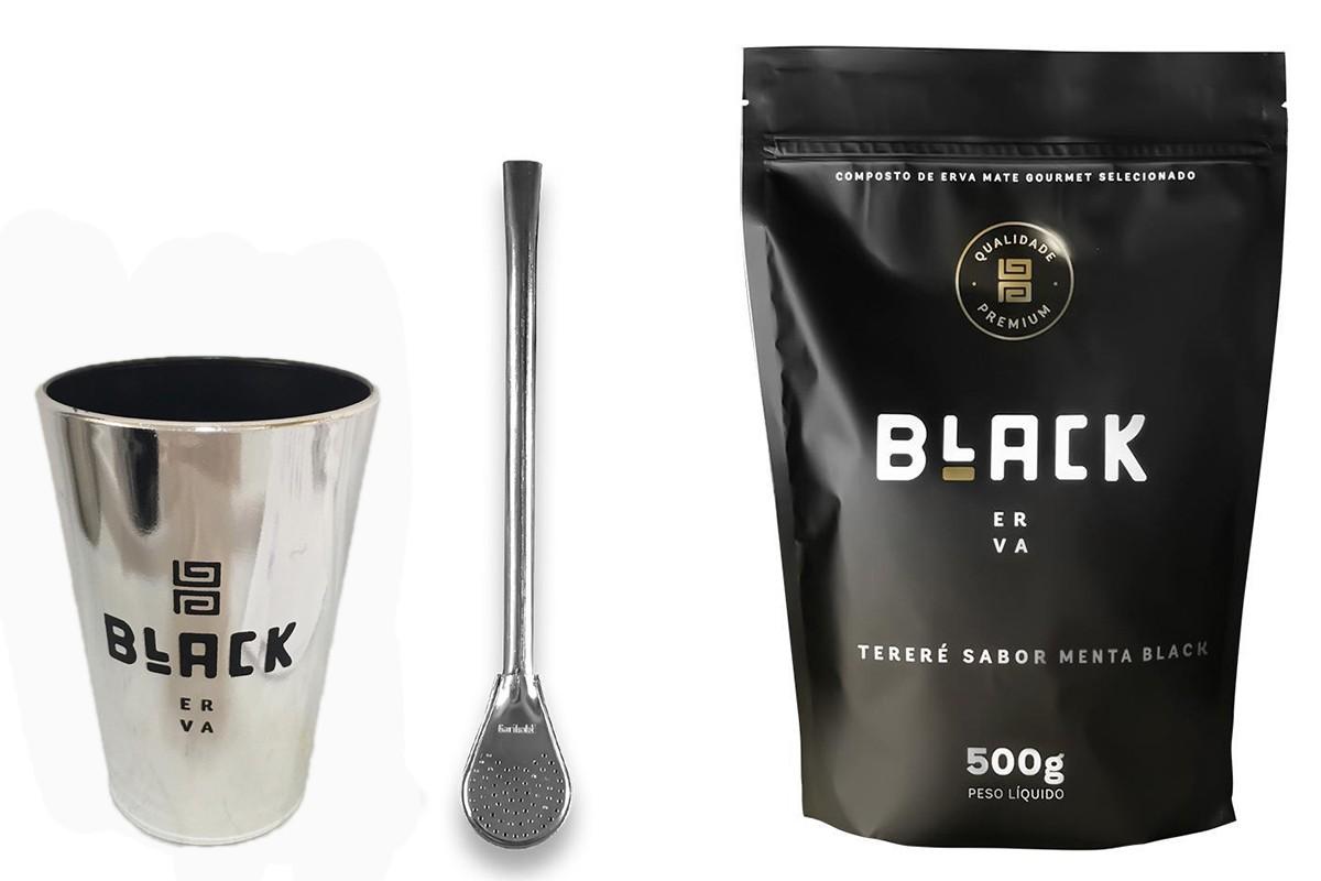 Kit Tereré Black Erva Copo Prata Tereré  Bomba Cor Prata e Menta Black 500 g