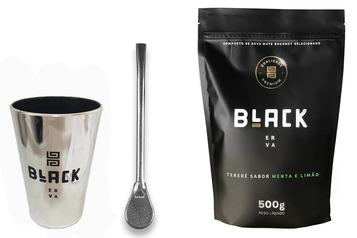 Kit Tereré Black Erva Copo Prata Tereré  Bomba Cor Prata Menta e Limão 500 g
