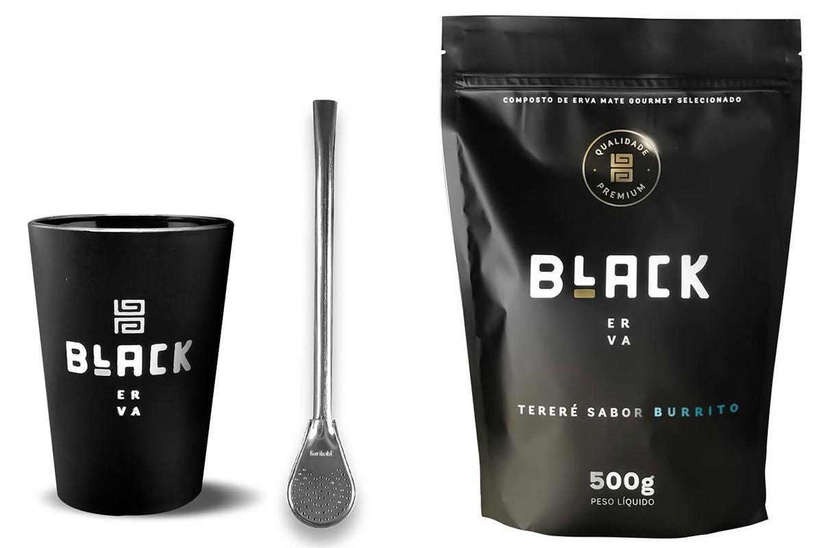Kit Tereré Black Erva Copo Preto Tereré  Bomba Cor Prata e Burrito 500 g
