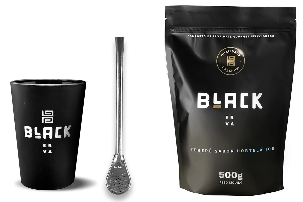 Kit Tereré Black Erva Copo Preto Tereré  Bomba Cor Prata e Hortelã Ice 500 g