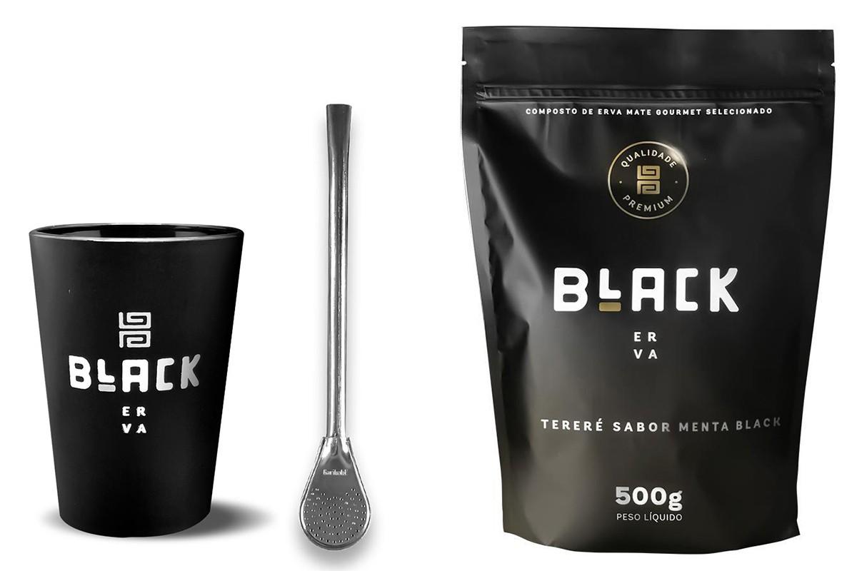 Kit Tereré Black Erva Copo Preto Tereré  Bomba Cor Prata e Menta Black 500 g
