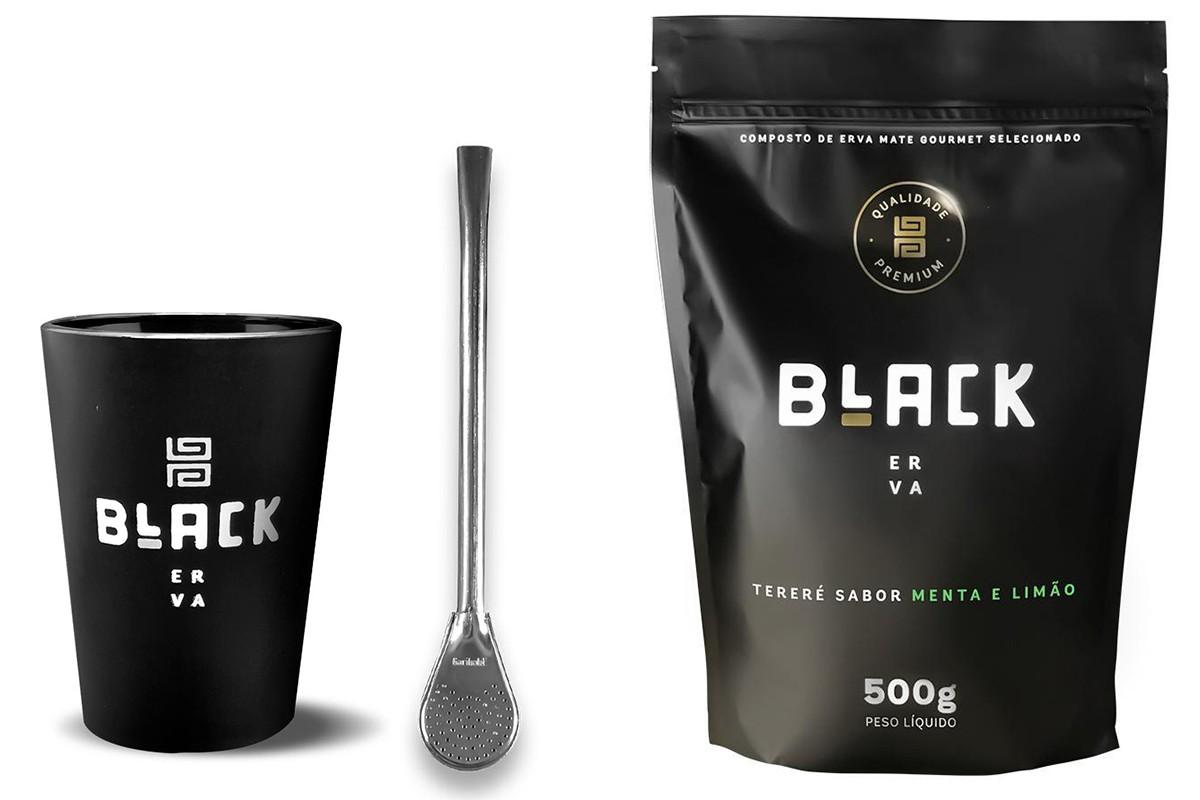 Kit Tereré Black Erva Copo Preto Tereré  Bomba Cor Prata Menta e Limão 500 g